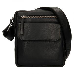 Pánská kožená taška přes rameno Lagen Vilém – černá 110145
