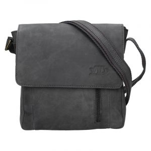 Pánská kožená taška Always Wild Cesan – černo-šedá 17730