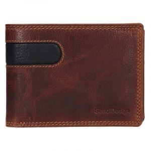 Pánská kožená peněženka SendiDesign Amarel – hnědo-černá 17642