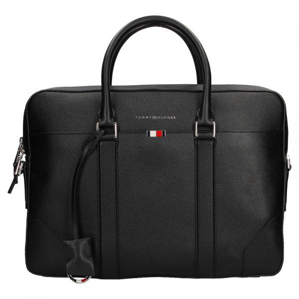 Pánská kožená business taška na notebook Tommy Hilfiger – černá 110514