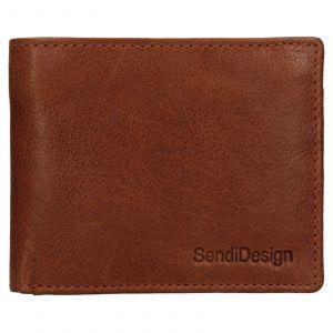 Pánská kožená peněženka SendiDesign Igor – koňak 110601