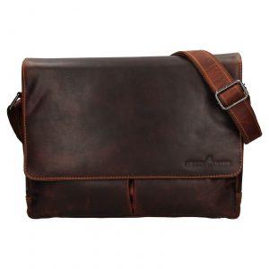 Pánská kožená taška přes rameno Greenwood Jay – hnědá 110642