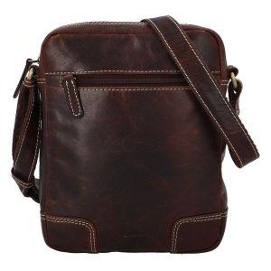 Pánská kožená taška přes rameno Diviley Samuel – tmavě hnědá 110679