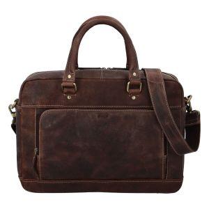 Pánská kožená taška na notebook Diviley Quido – hnědá 110676
