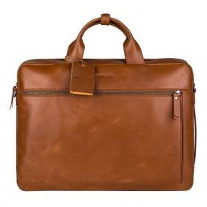 Kožená taška na notebook Burkely Work s powerbankou – koňak 110689