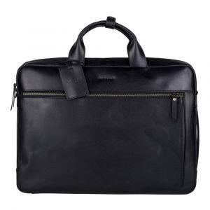 Kožená taška na notebook Burkely Work s powerbankou – černá 110688