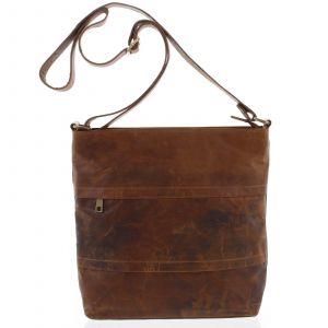Velká přírodní hnědá kožená crossbody taška – Tomas Maand koňak 159996
