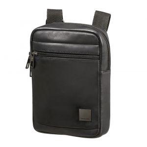 Samsonite Pánská kožená taška přes rameno Hip-Square S – černá p55198