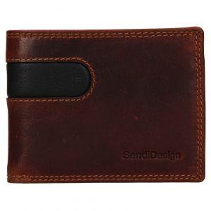 Pánská kožená peněženka SendiDesign Pent – hnědo-černá 110736