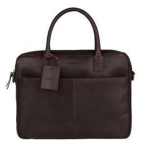 Kožená taška na notebook Burkely Jacko – tmavě hnědá 111004