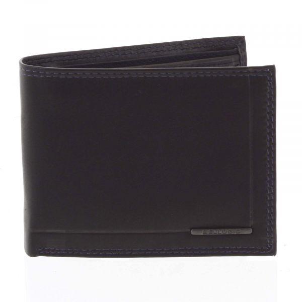 Pánská volná prošívaná peněženka černo modrá – Bellugio Pann černá 175163