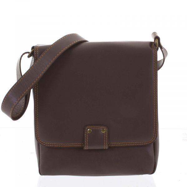 Luxusní kožená taška přes rameno oříškově hnědá – ItalY Tristen hnědá 159915
