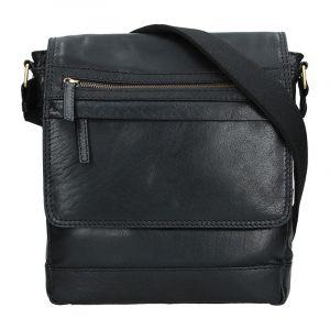 Pánská kožená taška přes rameno Lagen Borek – černá 1202