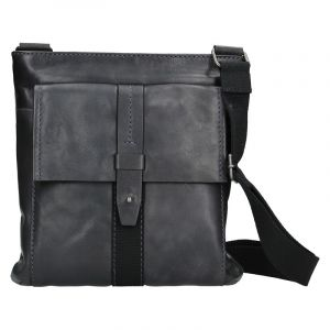 Unisex kožená taška přes rameno Lagen Apolon – černá 111623