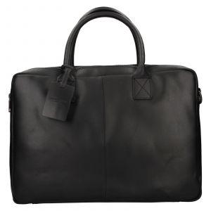 Kožená taška na notebook Burkely Taylor – černá 111718