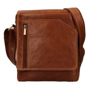 Pánská kožená taška přes rameno SendiDesign Ladis – koňak 111775