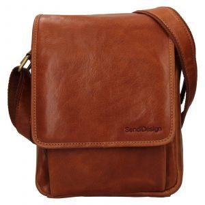 Pánská kožená taška přes rameno SendiDesign Pauls – koňak 111773