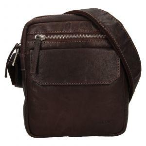 Pánská kožená taška přes rameno Lagen Jack – tmavě hnědá 111803