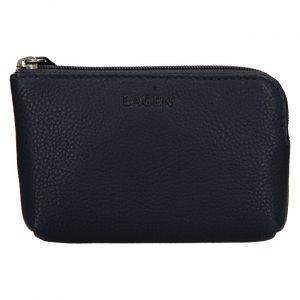Lagen Kožená mini peněženka-klíčenka BLC/4742 Blue mla0862