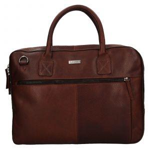 Pánská kožená business taška Lagen Daniel – hnědá 111810