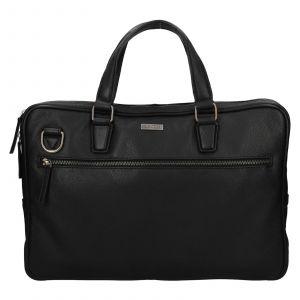 Pánská kožená business taška Lagen Daniel – černá 111809