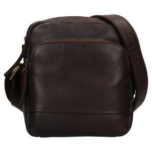 Pánská kožená taška přes rameno Ashwood Angel – tmavě hnědá 111834