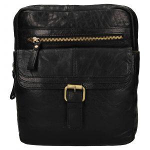 Pánská kožená taška přes rameno Ashwood Nicholas – černá 111851