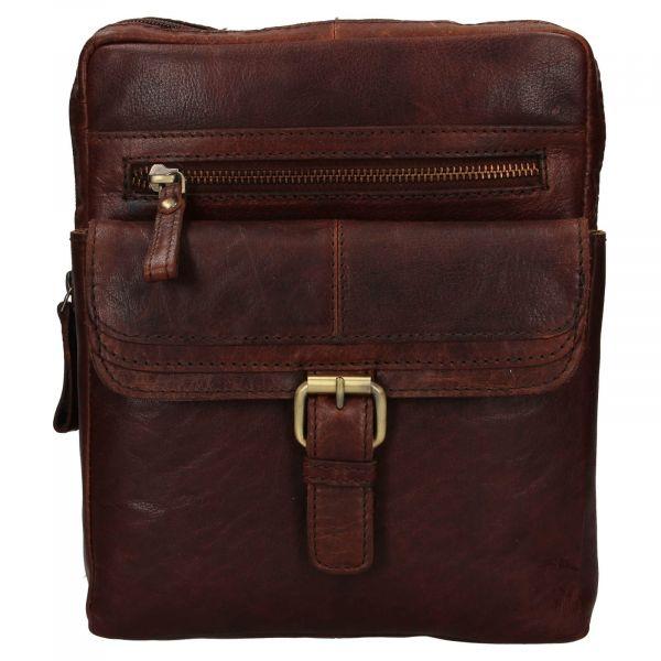 Pánská kožená taška přes rameno Ashwood Nicholas – tmavě hnědá 111850