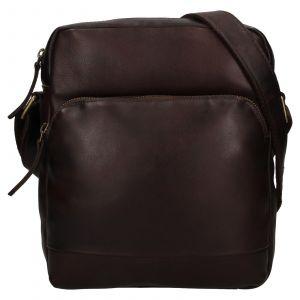 Pánská kožená taška přes rameno Ashwood Tommas – tmavě hnědá 111874