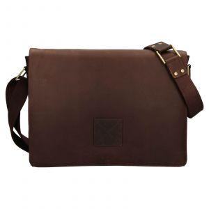 Pánská kožená taška přes rameno Ashwood Pedro – tmavě hnědá 111884