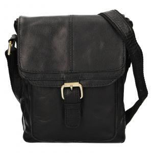 Pánská kožená taška přes rameno Ashwood Lincoln – černá 111898