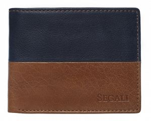 SEGALI Pánská kožená peněženka 80892 cognac/blue msg0117