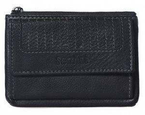 SEGALI Kožená mini peněženka-klíčenka 434 665 450 Black msg0206
