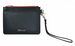 SEGALI Kožená mini peněženka-klíčenka 7290 A Black msg0207