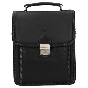Pánská kožená taška přes rameno Hexagona Alnes – černá 112134